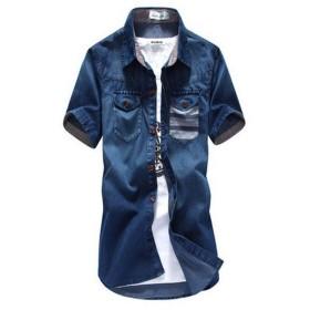GuDeKe 夏 デニムシャツ ジャケット メンズ トップス デニム 半袖 カジュアルシャツ ポケット (ディープブルーB7.1.9)