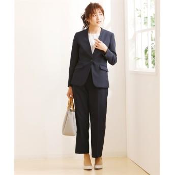 小さいサイズ 洗えるストレッチパンツスーツ(カラーレスジャケット+ワイドパンツ) 【小さいサイズ・小柄・プチ】事務服・ベストスーツ