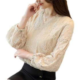 BYWX レディースロングスリーブレースオーバーレイはVネックトップスブラウスシャツ Apricot US XL