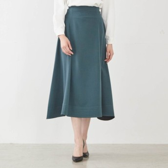 スカート レディース ロング 下腹ポッコリしにくいすっきりロングスカート 「ビリジアングリーン」