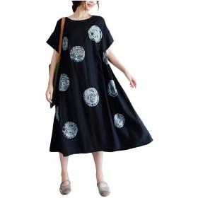 cheelot 女性クルーネックグラフィック半袖花プリントミディドレス Black XL