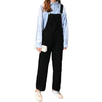 MLbossオーバーオール パンツ レディース ゆったり サロペットパンツ 韓国ファッション オールインワンパンツ 着痩せ ストレートパンツ 黒 通学(Q黒)
