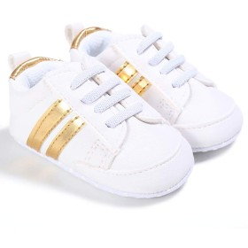 ベビーシューズ赤ちゃん 幼児靴 人工皮革 スニーカー 女の子男の子歩行練習靴 通気 履き心地いい 記念日 出産お祝い プレゼント 0-18ヶ月 (ラベル-12, ホワイト+イエロー)