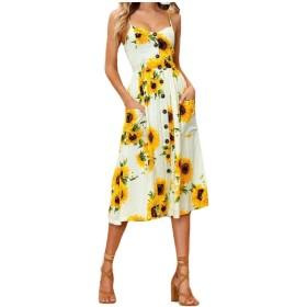 Nicellyer 女性のセクシーな模様の印刷パイナップルプリンセスドレススパゲッティストラップバックカットアウトビーチの休日のマルチカラーシングルブレストのドレス AS1 Large
