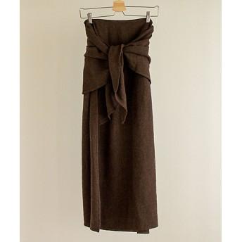 <little $uzie/リトルスージー> 2way Linen Wool Knot Skirt D/brown 【三越・伊勢丹/公式】