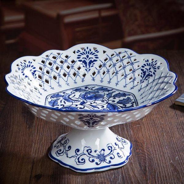 陶瓷 釉下彩青花瓷鏤空水果盤 創意家居水果簍 食品供盤 蜜拉貝爾