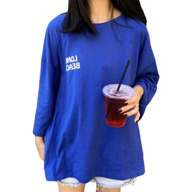 MengFanレディース ゆったり tシャツ レディース tシャツ カットソー tシャツ BF風 原宿風 韓国風 半袖tシャツ カジュアル tシャツブルーMF-C