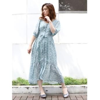 ダズリン 単色フラワーマキシワンピース レディース ブルー F 【dazzlin】