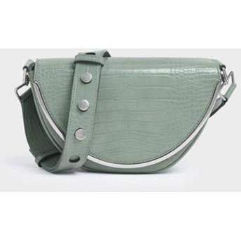 クロックエフェクト サドルクロスボディバッグ / Croc-Effect Saddle Crossbody Bag (Sage Green)