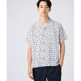 tk.TAKEO KIKUCHI(ティーケー タケオ キクチ) ◆幾何学柄開襟半袖シャツ