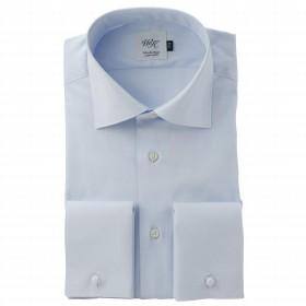 (ウィンザーノット アルバートアベニュー) Windsorknot Albert Avenue ダブルカフスのワイドカラー ドレスシャツ 長袖 日本製 綿100% サックスブルー無地 ピンポイントオックス 80番手双糸 wd4467-4386