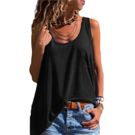 Qiangjinjiu 女性の高い低タンクトップポケット付きVネック夏固体ノースリーブシャツ black L