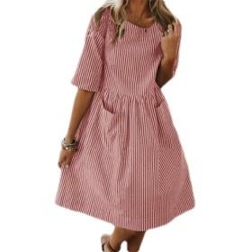 Fly Year-JP Women's Summer V Neck Short Sleeve Dresses Striped Print A-Lined Mini Dress Pink L