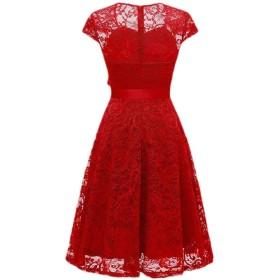 Nicellyer 女性レーススイングストラップ付きショートスリーブ高ウエストパーティーイブニングドレス Red XL