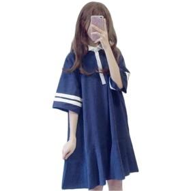 [ンーセンー] 夏 韓版 ポロネック 切り替え ワンピース ロリータ Tシャツ レディース ゆったり 着痩せ ストライプ チュニック アレア 裾まわり 可愛い ネイビーF