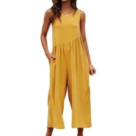 VITryst 女性ノースリーブセクシーソリッドワイド脚バックレス緩和ジャンプスーツパンツ Yellow S