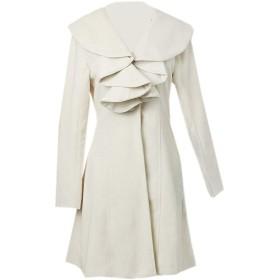 Romancly 女性ロングラインファルバルアウールスリムフィットワンボタンジャケットコート White S