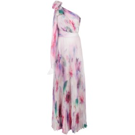 Marchesa Notte フローラル ワンショルダー ドレス - ピンク