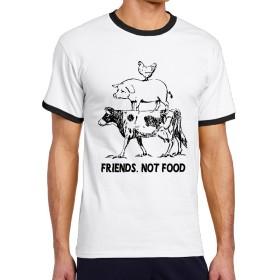 メンズ 半袖Tシャツ 牛 豚 鶏 友 食べ物 Oネック Vネック ソフト シャツ カジュアル 通学 Black Size S
