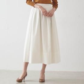 スカート レディース ロング コットン100%ギャザーロングスカート 「パールホワイト」