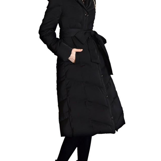RUIRUE BOUTIQUE(ルイ・ルエ・ブティック) リュクシー フォックスファー 付き ロング ダウン コート (D503) レディース ダウンコート ダウンジャケット 防寒 着痩せ スリム ロング 毛皮 フォックス ファー リアルファー 軽量 大きいサイズ 上品 S(7号) ブラック(B)