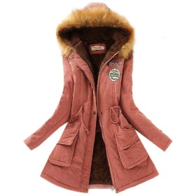 VITryst 女性秋冬ファーカラーは、フード付きロングスリーブピーコート AS4 XS