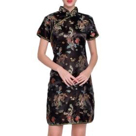VITryst 女性レトロスプリットショートスリーブフィット中国イブニングドレス Black XXL