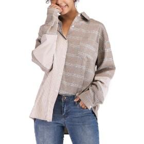 VITryst 女性は、デザインのアウトウェアの格子縞ヒットカラートップスバギートップシャツ As picture L