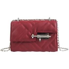 FGQZショルダーバッグ菱形チェーン人格ロックバックルメッセンジャーバッグ潮ファッション小さな正方形のバッグ - 赤