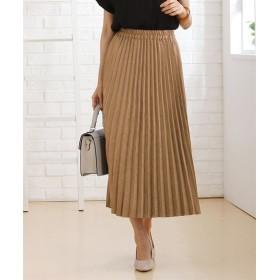 秋にぴったり♪フェイクスエード素材プリーツスカート (ひざ丈スカート),skirt