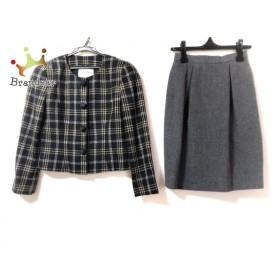 ジュンアシダ スカートスーツ サイズ9 M レディース ダークグレー×ライトブラウン×マルチ  値下げ 20191008