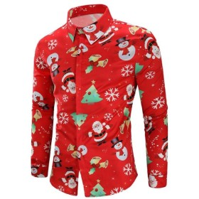 BYWX メンズクリスマスロングスリーブカジュアルスリムフィット印刷ボタンフロントシャツ Red US XL