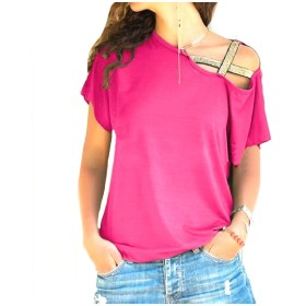 Nicellyer Womens Cross T-shirts Inclined Shoulder Baggy Short Sleeve Blouse Shirt RoseRed S