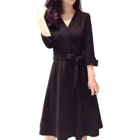 [シーポン]セレブ ブラック 黒前開き ドレス ワンピース (L)