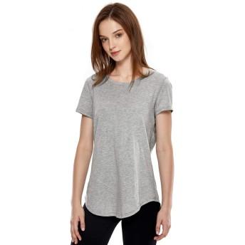 CRZ YOGA レディース ピマ綿 tシャツ 無地 ゆったり 半袖 カットソー トップス スポーツウェア 吸汗速乾 ヘザーミディアムグレー XXL(胸囲103cm、ウエスト82cm)