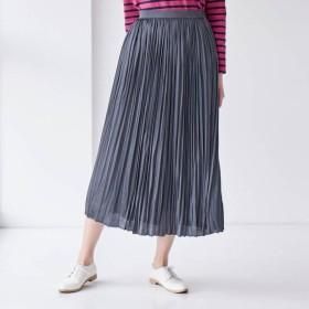 スカート レディース ロング クリンクルサテンスカート 「チャコール」