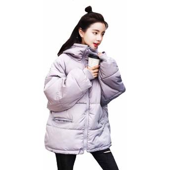 MengFan レディース ダウンジャケット 冬 中綿コート 無地 フード付き シンプル ショートコート ゆったり BF風 防寒着 アウター 韓国風 ファッション 原宿風(Eグレー)