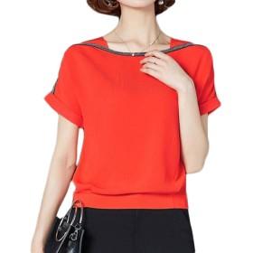 ZhongJue(ジュージェン)レディース 半袖 tシャツ シフォンtシャツ 無地 トップス 夏 大きいサイズ シフォンシャツ オフィス フェミニン(4オレンジ)