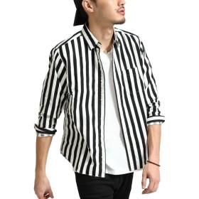 [ジップファイブ] ZIP FIVE MADE IN JAPAN レギュラーカラーシャツ ∞ made in Japan ∞ 18-ss-010 4太ストライプBLACK XS