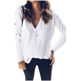 sayahe 女性Vネックロングスリーブプルオーバー固体カジュアルセクシーシャツトップ White S