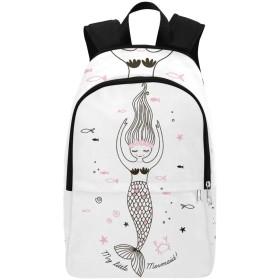 CKYHYC バックパック 美しい人魚 大容量 軽量 撥水加工 防水 ビジネスリュック メンズ 男女兼用 通勤 通学 出張 旅行 ラップトップ Pcバッグ アウトドア