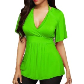 chenshiba-JP Women Summer Short Sleeves Halter T Shirts V Neck Tops Blouses Green M