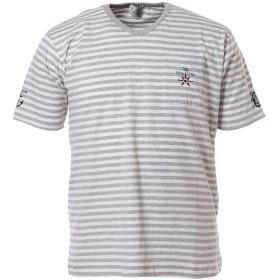 (シナコバ) SINA COVA デザインTシャツ 半袖Tシャツ ボーダーTシャツ VネックTシャツ ポケットTシャツ Tシャツ カットソー 綿 スラブ天竺 メンズ マリンウェア ゴルフウェア (グレー系) Mサイズ 19120550