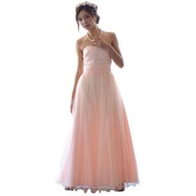 Vierge マキシ丈 ロング ドレス ワンピース 結婚式 二次会 パーティードレス フォーマル (L, ピンク)