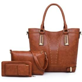 BF-女性用 バッグ PU バッグセット 3個の財布セット ジッパー 純色 ブラック/ピンク/キャメル:キャメル