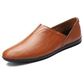 メンズ シューズ 快適 ローファー メンズシューズ ファッショ モカシン カジュアルシューズ 革靴 本革 スリッポン (Color : Red Brown, サイズ : 23.5 CM)