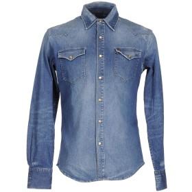 《期間限定 セール開催中》(+) PEOPLE メンズ デニムシャツ ブルー M コットン 98% / ポリウレタン 2%