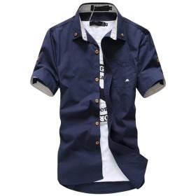 シャツ 半袖 アメカジファッション メンズ 夏 トップス ボタン シャツ カットソー カジュアル 上着 navy 2XL