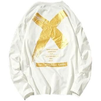 LEVIFE(レバイフ) 大きいサイズ Tシャツ トップス ストリート プリント 長袖 ゆったり オーバーサイズ ダンス メンズ 白 4L