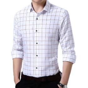 VITryst メンズ非鉄ビジネスロングスリーブカジュアルボタンチェックドレスシャツ White 2XL